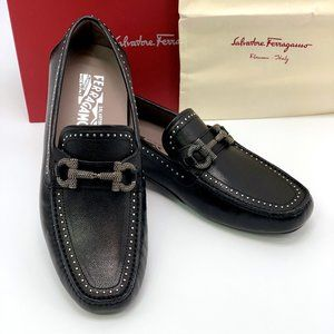 NIB SALVATORE FERRAGAMO Black PARIGI Stud Loafer